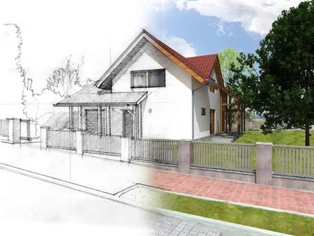creador: Ilustración de una idea y la ejecución de la casa