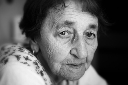 Face of an old woman, black and white portrait Stock Photo