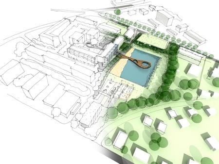 ontwikkeling: Illustratie van een idee en de uitvoering van stedenbouw