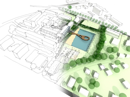 arquitecto: Ilustración de una idea y realización del diseño urbano Foto de archivo