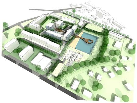 도시 디자인 스케치의 일부