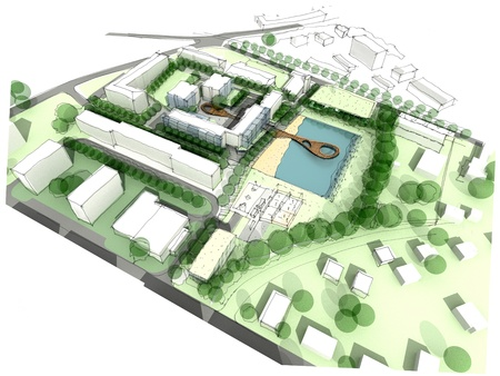 land development: Part of the city design sketch Stock Photo