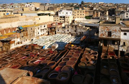 fes: Traditional tannerie of Fes, Morocco