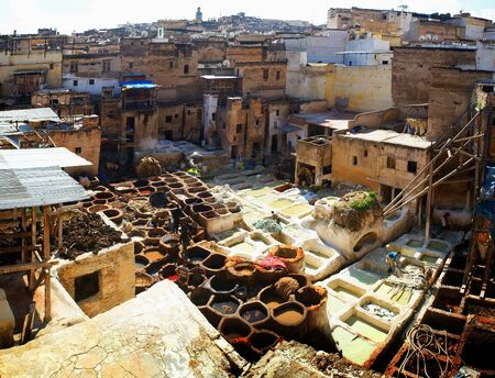 reservoirs: Dye reservoirs in tannery in Fes, Morocco