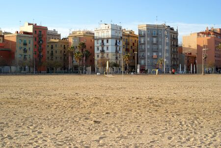 Barcelona, beach and houses in Barcelonetta district Stock Photo