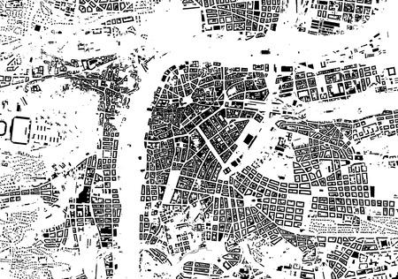 プラハの黒白い都市計画 - 通りのテクスチャ