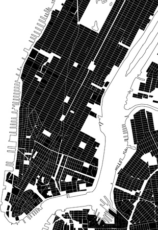 grid: New York black white city plan - street texture Stock Photo