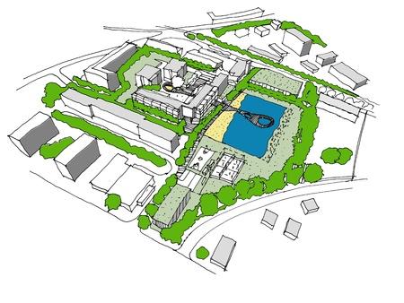 새로운 개발 도시 아이디어의 스케치