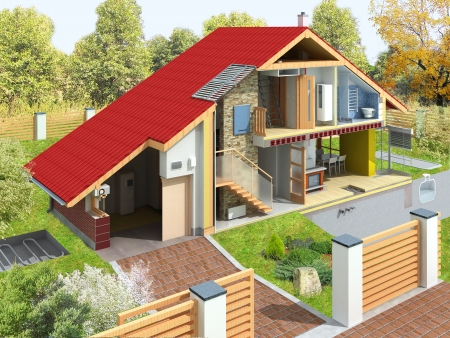 Rendering of a house in a section with garden  Visible technology of home infrastructure