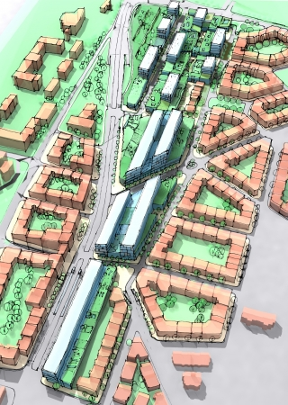 urban area: Illustration of a new urban sustainable development area  Idea of houses with green roofs  Stock Photo