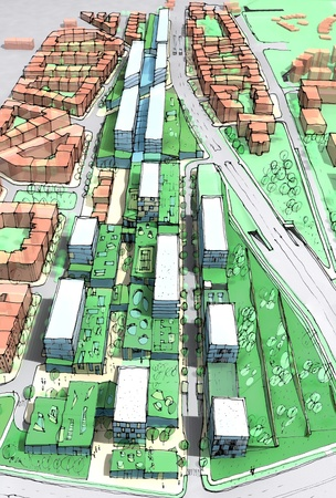 urban area: New urban development area with green roofs