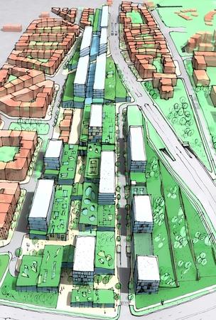 perspectiva lineal: Nueva área de desarrollo urbano con techos verdes