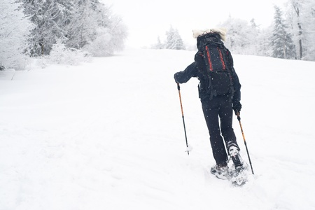 Man alone is going up to hill with snowshoes