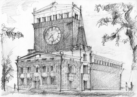 charcoal: Illustration of monumental church of architect Plecnik in Prague  Charcoal drawing