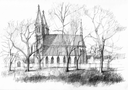 Vysehrad medieval castle in Prague  Pencil drawing from the park Stock Photo