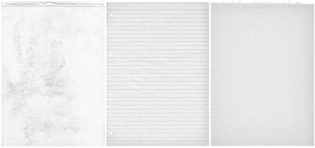 Three teared papers background  White old sheets  Checked, blanked and lined  photo