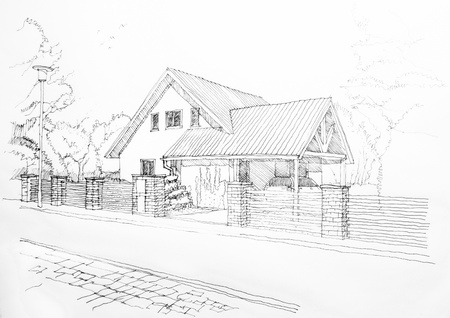 Sketch of a privat house from the street  photo
