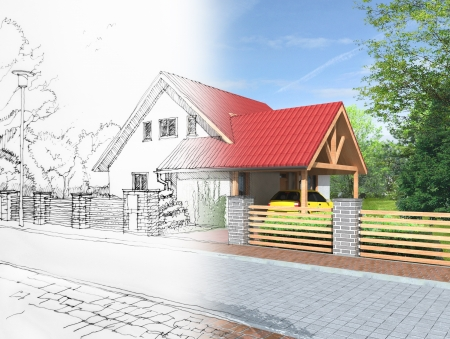 building sketch: Idea of house construction  Conceptual illustration of an architect