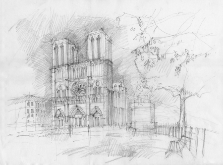 Pencil drawing of the historic facade of Notre dame, Paris Stock Photo