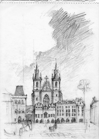Pencil drawing of Tyn Church in Prague  Charcoal picture from sketch book  Stock Photo