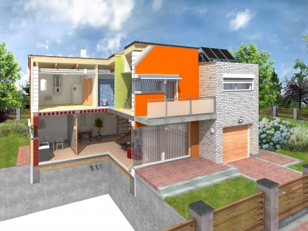 Ventilation: Modern house in the section with visible infrastructure  Concept of energy efficiency house with different types of building materials