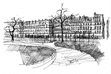 rue: Pen black and white hand drawing of Rue de Rivoli in Paris, France  Perspective view from park Tuilerie
