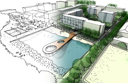 アイデアのイラストと都市デザインの実装を作った手でスケッチとコンピューターのレンダリング
