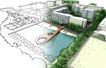 Illustration d'une idée et la mise en ?uvre de l'aménagement urbain réalisé par croquis à la main et le rendu de l'ordinateur