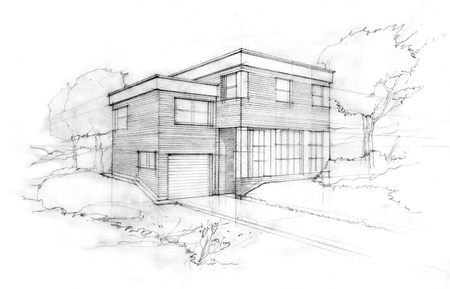 Sketch of a modern cubic house  First idea of an architect  Stock Photo
