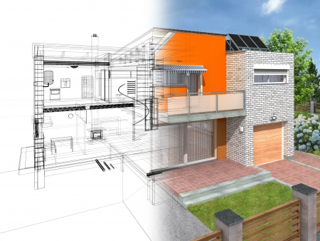 Modern house in the section with visible infrastructure and interior. Outline sketch and rendering. Stockfoto