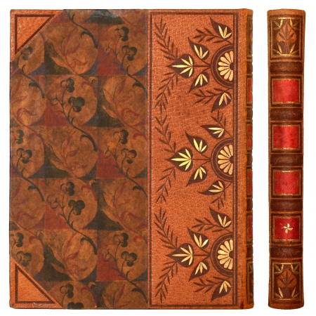 old book cover: Cover of history book made of leather and decorated with floral elements, isolated on white background