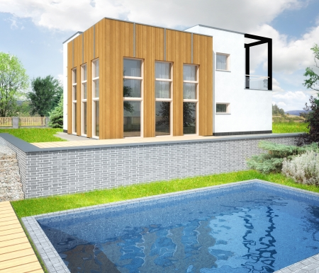 architecture project: Architectural vizualization of a new modern house with a garden around. Building is reflected in a pool in a foreground.