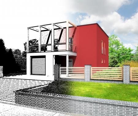 설계 과정의 건물을 보여주는 스케치 및 렌더링의 새로운 현대적인 주택 조합의 건축 시각화 입방 모양과 평평한 지붕이