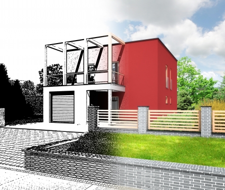 detached house: Architectural visualization of a new modern house  Combination of a sketch and rendering showing the design process   Building has a cubic shape and flat roof  Stock Photo