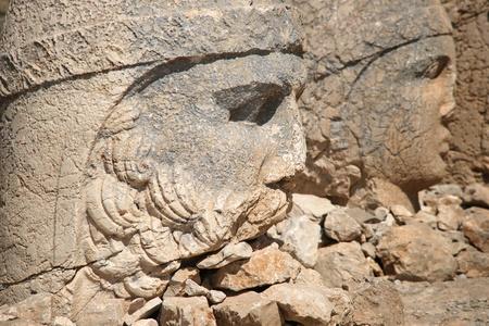 Detail of antique statues on Nemrut mountain, Turkey
