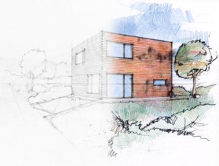 개인 주택의 스케치하여 설계 과정의 그림