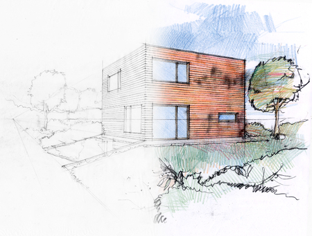 Illustration of a design process by a sketch of a private house