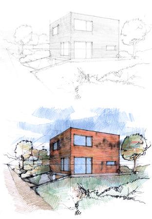 2 つの技術によって作られた立方体の家のスケッチ。