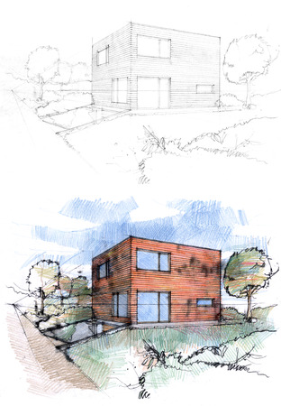 techniques: Sketches of a cubic house made by two techniques. Stock Photo