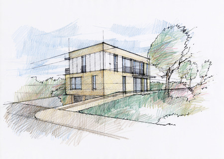 Modernes Haus Skizze Standard-Bild - 29872607
