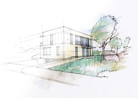 Modernes Haus Skizze Standard-Bild - 29872621