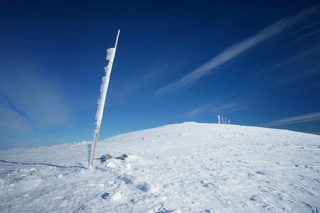 Winter landscape with winter walking path marked by a wooden poles. Moon visible on a horizon.