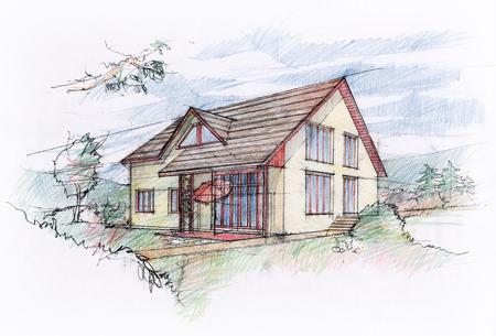 Casa desenho de esboço Foto de archivo - 36577092