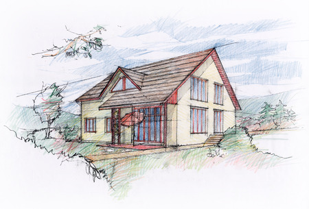 architectural exterior: House sketch design