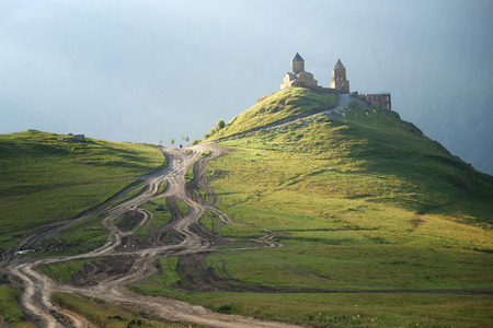 Stepansminda church in Georgia, Kazbek region