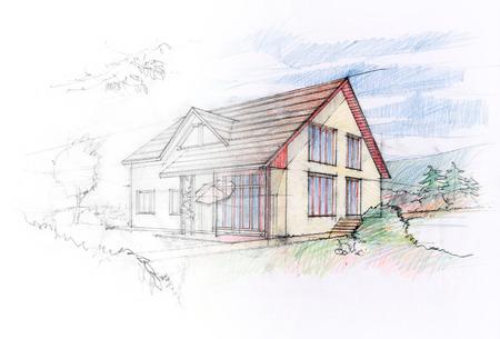 Casa de diseño boceto Foto de archivo