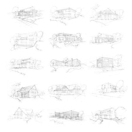 패밀리 하우스의 손으로 만든 스케치 스톡 콘텐츠