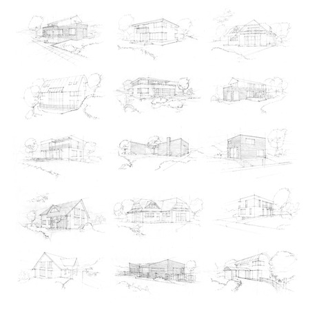 Hand made sketches of family houses