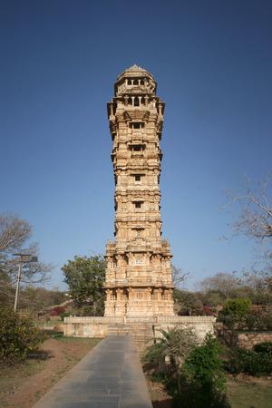 インド、ラジャスタン州で有名な勝利の塔 報道画像