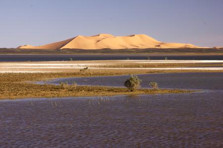 erg chebbi: Dayet Srji salt lake with the dunes from Erg Chebbi near Merzouga.